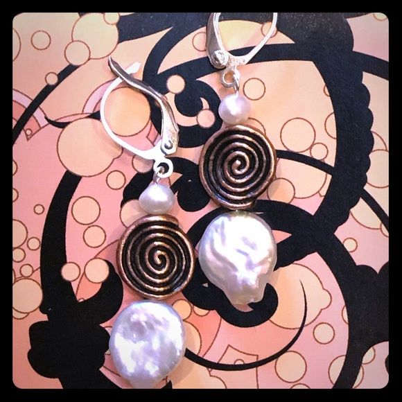 Copper Spiral Coin Pearl Earrings in white